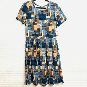 LuLaRoe Amelia XL Blue Orange Blocks Dress